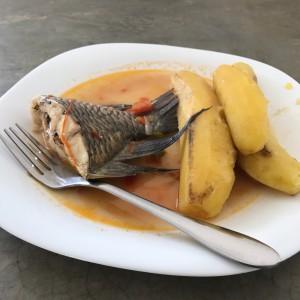 研究所でのお昼ご飯 ティラピアとマトケ(調理用バナナ)
